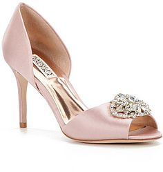 "Badgley Mischka Dana d'Orsay Peep Toe Pumps - From Badgley Mischka, the Dana d'Orsay Peep Toe Pumps feature: satin upper Approx. 3.5"" heel synthetic leather lining leather sole Imported."