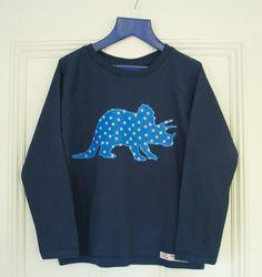 Boys long sleeve triceratops applique t shirt navy. £14.00, via Etsy.
