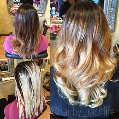 Before and after to a higher contrast and brighter ombre / sombre! Color created using balayage ombre highlight hair painting techniques with olaplex. Hair by Rachel fife at Sara Fraraccio salon.