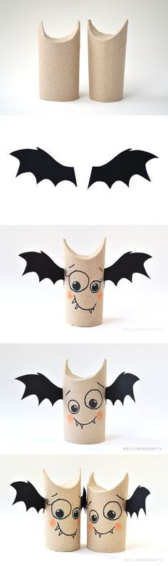 46 foolproof Halloween ideas for crafting with toilet rolls- 46 kinderleichte Halloween-Ideen für Basteln mit Klorollen DIY Halloween ideas tinker with toilet rolls - Bricolage Halloween, Diy Halloween, Theme Halloween, Adornos Halloween, Manualidades Halloween, Easy Halloween Decorations, Halloween Crafts For Kids, Holidays Halloween, Holiday Crafts