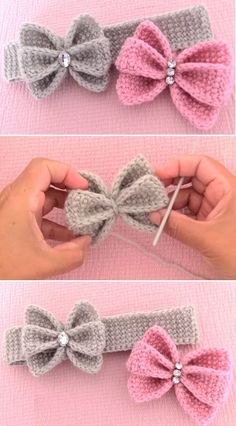 Few facts about the crochet pattern Just crochet butterfly bow sti . Few facts about the crochet pattern, just crochet butterfly bow headband, Crochet Bow Pattern, Crochet Flower Patterns, Crochet Flowers, Crochet Stitches, Tutorial Crochet, Knit Crochet, Crochet Designs, Knitted Headband Free Pattern, Baby Patterns