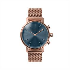Buy Kronaby Connected Women's Carat Milanese Bracelet Strap Smartwatch, Rose Gold/Blue from our Women's Watches range at John Lewis & Partners. Mesh Bracelet, Metal Bracelets, Skagen, Smartwatch, Emporio Armani, Mesh Armband, Pink And Gold, Rose Gold, Things To Buy