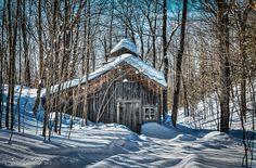 cabane à sucre dans la neige Sugar Bush, Beautiful Winter Scenes, Barns Sheds, Winter Painting, Winter Magic, Shed Homes, Farm Barn, Japanese Aesthetic, Le Havre