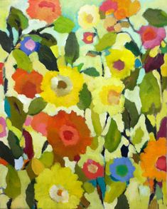 """""""Ranunculus"""" by Kim Parker.   Have this print in my bathroom.  never get tired of the cheery color!"""