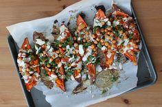 Mediterranean Stuffed Sweet Potatoes with Crunchy Chickpeas