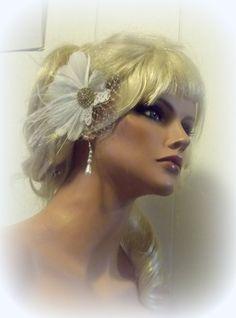 Wedding Hair Fascinator Gold Brooch Bridal Hair by kathyjohnson3