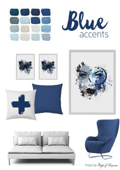 Blue Accents for this season! Poster and printed pillow by People of Tomorrow. Blue Accents, Gallery Wall, Seasons, Printed, Pillows, Interior Design, Frame, People, Poster