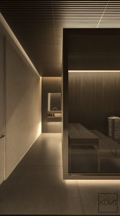 3 Minimalist Monochromatic Homes With Modern Lighting illuminated-living-cubicles-slatted-wood-finish-industrial-bedroom Gym Lighting, Interior Lighting, Lighting Stores, Lighting Ideas, Gym Interior, Interior Decorating, Interior Ideas, Decorating Games, Apartment Interior