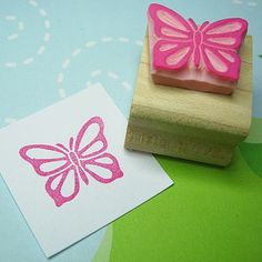 Fluttering Butterfly Hand Carved Rubber Stamp by skull and cross buns