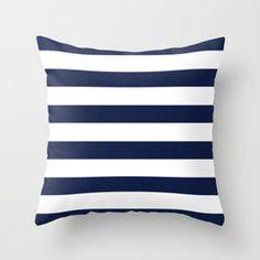 popular navy striped Throw Pillow   Society6