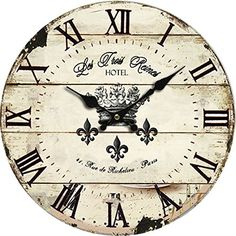 Large decorative world map wall clock clockscoin op pinterest fashioned with antique and traditional accents this french inscribed wall clock will add a dash of charm to your rustic kitchen or any wall it is displayed gumiabroncs Choice Image