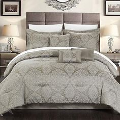 The   Banke Embossed Jacquard Motif style traditional comforter set ensemble is a   beautiful display of traditional old work timeless design paired with rich   red and gold tones and the most   elegant and heavy quality fabrications, its sure to dress your master suite   with a timeless bedding ensemble. Beautiful faux silk pleated decor pillows   included to complete the look. Composed of luxury grade super soft brushed   microfiber polyester fabric.     Set includes: 1pc Comfo...