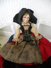 """Doll 22"""" French Boudoir Doll All Original Mohair Wig, fur lashes Cloth face"""