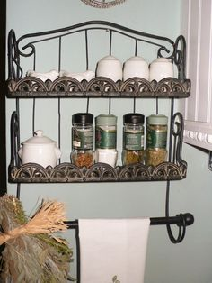 Spices and Towel Wall Hanger Vintage Wrought Iron, Decorated with Fleur de Lis