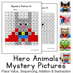 Practice place value, sequencing, addition and subtraction with these fun Superhero Animals Mystery Pictures. These activities are perfect for math centers, early finishers or homework. By Pink Cat Studio