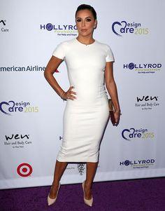 Eva Longoria Elegantly Shows Off Her Curves in White Victoria Beckham Dress and Casadei Heels