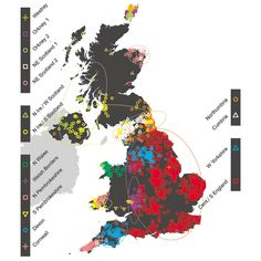 Genetics map UK Genetic study reveals of white British DNA has German ancestry Analysis over 20 years reveals heavy Anglo-Saxon influence, with French and Danish DNA coming from earlier migrations than the Normans or Vikings Uk Migration, Map Of Britain, Genetic Variation, Devon And Cornwall, The Secret History, Anglo Saxon, Dna Test, British Isles, Genetics