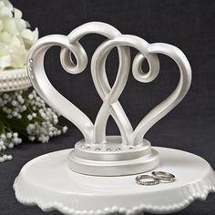 Rhinestoned Interlocking Hearts Cake Topper Centerpiece Wedding Favours
