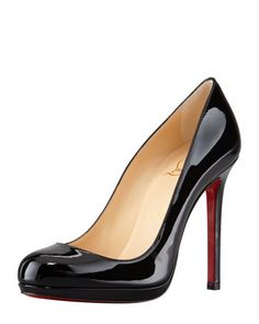 Neofilo Patent Round-Toe Red Sole Pump, Black by Christian Louboutin at Neiman Marcus.