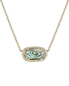 Bare a tiny treasure from the sea with this petite, oval Elisa pendant necklace from #Kendra Scott in beautiful abalone shell.