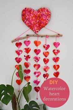 How to make a 3D paper Mache heart and to paint it with clever watercolor techniques. Also includes a tutorial for the heart wall hanging. #valentinesdecor #diyvalentine
