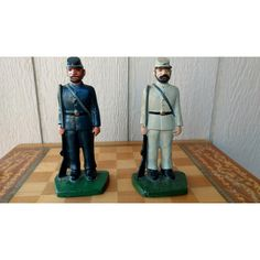 Vintage Heavy Cast Metal Confederate and Union Soldier Civil War... ($85) ❤ liked on Polyvore featuring home, home decor, vintage home accessories, soldier figure, vintage figurines, soldier statue and vintage door stops