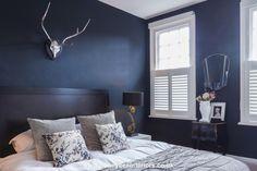 Interior Design Shoot #interiors #honeyb #darkwall #featurewall #bedroom #railings #greybedroom