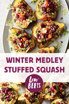 Beets, veggies, and wild rice stuffed acorn squash! Perfect for a fun winter dinner or holiday gathering!
