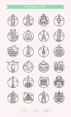 24 City Badges & Vector Stamps by Dreamstale on 24 Cities icon designed in simple line, tied together by the use of consistent stroke and circles. I really like reducing each city to one major landmark in order to represent it Icon Design, Logo Design, Design 24, Flat Design, Vector Design, Stylo Art, City Branding, City Logo, City Icon