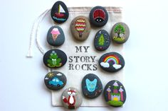 Story Stones and painted rocks. This is fun with kids. Take a walk, have a special time, come home and paint about what you saw.