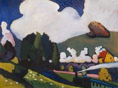 Vasily Kandinsky's 'Landscape near Murnau with Locomotive (Landschaft bei Murnau mit Lokomotive),' 1909.