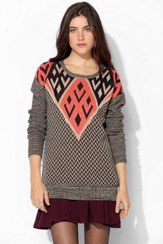 Ecote Intarsia Pullover Sweater - Urban Outfitters