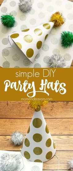 Simple DIY Party Hats - perfect for New Year's Eve, birthday parties, and more!