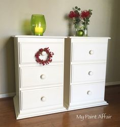 Commissioned ... Old White Annie Sloan Chalk Paint with Fusion Tough Coat Sealer over baltic pine bedside drawers. Find me on Facebook at My Paint Affair www.faceboook.com/mypaintaffair