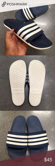 488ca192dddb9 MENS BLUE ADIDAS ADILETTE CLOUDFOAM STRIPES SLIDE MENS NAVY ADIDAS ADILETTE  CLOUDFOAM STRIPES SLIDE adidas Shoes Sandals   Flip-Flops