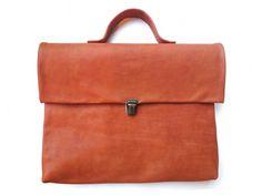 ochre leather briefcase by Nastya Klerovski