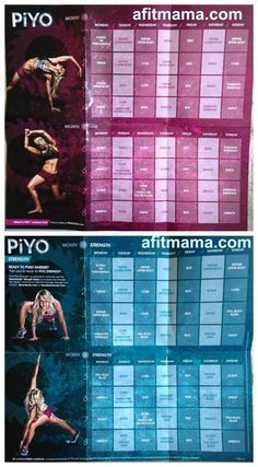 PiYo Workout Schedule and Calendar!