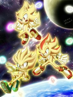 Sonic, shadow, and silver in their super forms Shadow The Hedgehog, Sonic The Hedgehog, Hedgehog Art, Silver The Hedgehog, Sonic Team, Sonic 3, Sonic Heroes, Sonic And Amy, Sonic Fan Art