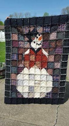 Cute snowman rag quilt