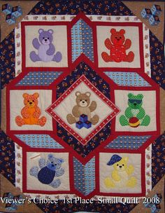 Teddy Bear quilt- really like the way these blocks are set together!!