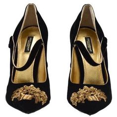Dolce Gabbana NEW SOLD OUT RUNWAY Black Gold Evening Mary Jane Heels... (€2.021) ❤ liked on Polyvore featuring shoes, pumps, heels, scarpe, zapatos, black mary janes, black heeled shoes, gold pumps, gold mary jane pumps and mary-jane shoes