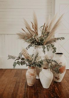 Clay pottery + pampas grass for bohemian wedding decor. inspo wedding Neutral Boho Wedding Inspiration at Pearl Snap Hall in Austin, Texas Bohemian Wedding Decorations, Wedding Centerpieces, Neutral Wedding Decor, Bohemian Wedding Flowers, Boho Flowers, Bohemian Weddings, Wedding Dried Flowers, Table Centerpieces, Quinceanera Centerpieces