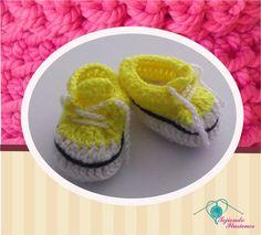 Modelo N° 77:Converse Amarillo, Tennis convers tejidos a crochet #Convers #shoesbaby #zapatitos #babycrochet #crochet