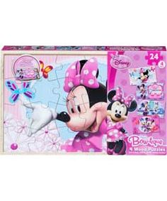Disney Minnie Mouse 4 Wooden Puzzles in a Box.