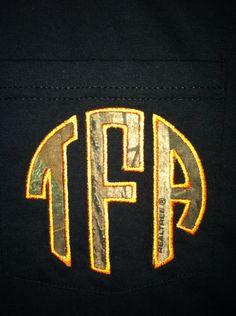 Real Tree camo fabric monogram pocket tshirt by memoandmom on Etsy, $22.00