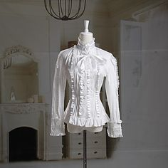Long Sleeve White Cotton Classic Lolita Blouse - USD $ 59.99