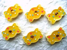 Yellow Candy Kawaii Cabochons 6pcs 23mm by DecoSweets on Etsy, $2.75