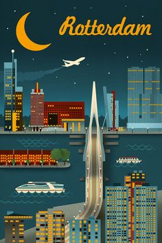 Rotterdam - Retro Skyline - Lantern Press Artwork