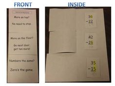 Subtraction with Regrouping - flip book helps students remember when to borrow or not.