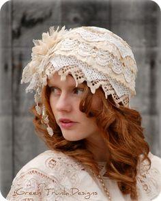 Lace Flapper Hat 1920's Victorian Wedding Cap Veil Vintage Style. $200.00, via Etsy.